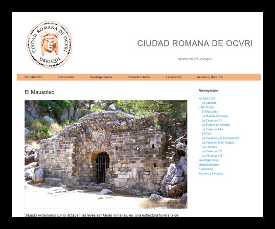Captura de pantalla de la página de apoyo a los códigos QR y que es accesible desde internet en la dirección: http://www.ciudadromanadeocuri.es/